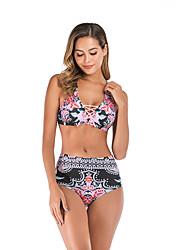 halpa -Naisten Perus Musta Kolmia Korkea vyötärö Bikini Uima-asut - Kukka L XL XXL Musta
