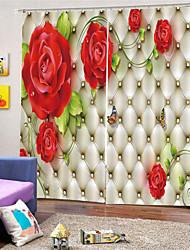 Недорогие -3d цифровая печать на заказ полиэстер цветочные конфиденциальности две панели занавес для сада гостиной декоративные водонепроницаемые шторы