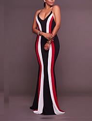 Χαμηλού Κόστους -Γυναικεία Βασικό Θήκη Φόρεμα - Μονόχρωμο Ριγέ, Patchwork Ασύμμετρο