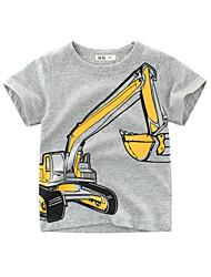 tanie -Brzdąc Dla chłopców Moda miejska Nadruk Krótki rękaw Bawełna T-shirt Szary