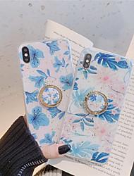 Недорогие -Кейс для Назначение Apple iPhone XS / iPhone XR / iPhone XS Max Кольца-держатели / С узором / Сияние и блеск Кейс на заднюю панель Цветы Мягкий ТПУ