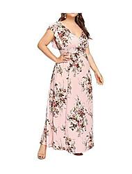 Недорогие -Жен. Большие размеры Секси С летящей юбкой Платье - Цветочный принт, С принтом Глубокий V-образный вырез Макси