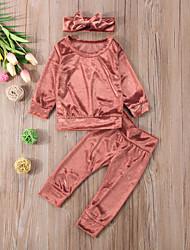 Недорогие -малыш Девочки Активный / Классический Однотонный Длинный рукав Короткий Набор одежды Красный