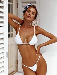 abordables -Mujer Naranja Fucsia Wine Triángulo Pícaro Bikini Bañadores - Un Color M L XL Naranja