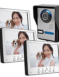 Недорогие -815fa13 проводной 7-дюймовый видео домофон дверной звонок внешняя машина три внутренняя машина типа виллы видео домофон с функцией разблокировки дождя ночного видения