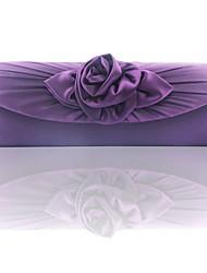 Недорогие -Жен. Цветы Шелк Вечерняя сумочка Сплошной цвет Лиловый / Пурпурный / Кофейный / Наступила зима