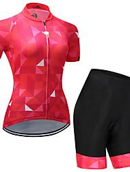 Недорогие -Муж. Жен. С короткими рукавами Велокофты и велошорты Красный + черный Клетки Велоспорт Наборы одежды Быстровысыхающий Виды спорта Клетки Горные велосипеды Шоссейные велосипеды Одежда / Эластичная