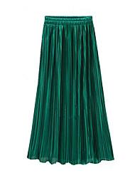 Недорогие -Жен. Уличный стиль Качеля Подол Однотонный Плиссировка Зеленый Пурпурный Хаки Один размер / Свободный силуэт