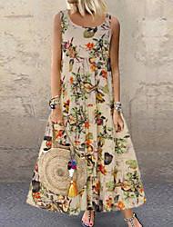 Недорогие -Жен. Большие размеры Свободный силуэт С летящей юбкой Платье - Цветочный принт, С принтом Макси
