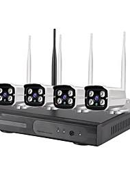 Недорогие -4ch 720p HD Wireless NVR Kit Система безопасности NVR Kit