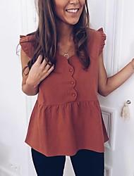 Χαμηλού Κόστους -Γυναικεία T-shirt Βασικό Μονόχρωμο Patchwork Πορτοκαλί US2