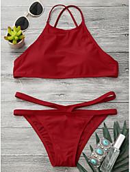 abordables -Mujer Rojo Gris Bikini Bañadores - Un Color S M L Rojo