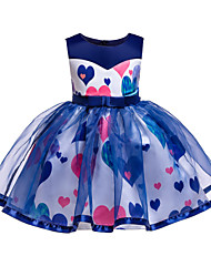 cheap -Kids Toddler Girls' Basic Cute Heart Lace Bow Patchwork Sleeveless Knee-length Cotton Polyester Dress Blue