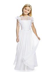 Недорогие -Дети Девочки Классический Симпатичные Стиль Однотонный Кружева Рюши С короткими рукавами Макси Шёлк Платье Бежевый