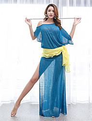 baratos -Dança do Ventre Vestidos Mulheres Espetáculo Elastano Franzido Manga Curta Vestido / Xale de Dança do Ventre