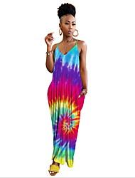 preiswerte -Damen Grundlegend Bodycon Kleid Regenbogen Maxi