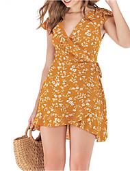 abordables -Mujer Boho Vaina Vestido - Retazos Estampado, Floral Sobre la rodilla