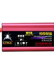 Недорогие -Kesge 1000 Вт универсальный автомобильный инвертор типа DC12V / 24V-AC220V / 110 В постоянного тока в инвертор переменного тока