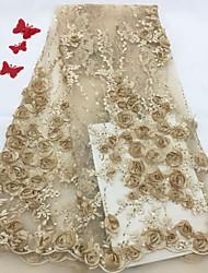 저렴한 -아프리카 레이스 꽃 패턴 125 cm 폭 구조 용 신부 팔린 ~에 의해 5 야드