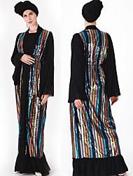 Χαμηλού Κόστους -Παραδοσιακή & Πολιτιστική Φορά Αμπάγια Γυναικεία Καθημερινά Ρούχα Τούλι Παγιέτες Μακρυμάνικο Αμπάγια