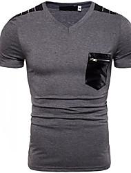 ราคาถูก -สำหรับผู้ชาย เสื้อเชิร์ต Street Chic ลายบล็อคสี / กระโหลก สีเทา L