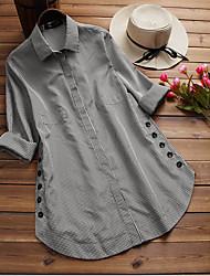 preiswerte -Damen Schachbrett - Grundlegend Hemd Patchwork Blau US12