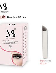 billige -50 stk. Manuelle mikroblader nåle 14pin tebori tatoveringsklinger til permanent sminke øjenbryn