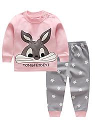 Недорогие -малыш Девочки Уличный стиль С принтом Длинный рукав Обычный Набор одежды Розовый