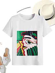 Χαμηλού Κόστους -Γυναικεία T-shirt Βασικό Κινούμενα σχέδια Στάμπα Λευκό US2