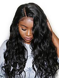 Недорогие -Натуральные волосы Лента спереди Парик Боковая часть стиль Малазийские волосы Кудрявый Черный Парик 130% Плотность волос Женский Черный Жен. Короткие Прочее Clytie