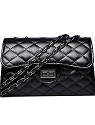 Χαμηλού Κόστους -Γυναικεία Τσάντες PU Σταυρωτή τσάντα Συμπαγές Χρώμα Μαύρο