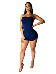 ราคาถูก -เสื้อผ้าเต้นรำที่แปลกใหม่ Nightcub Jumpsuits สำหรับผู้หญิง Performance เส้นใยสังเคราะห์ / เดนิม แบนเอด เสื้อไม่มีแขน ชุดแนบเนื้อสำหรับการเต้น
