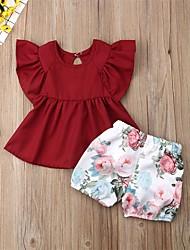 Недорогие -малыш Девочки Активный / Классический Цветочный принт Оборки / С принтом С короткими рукавами Обычный Набор одежды Красный