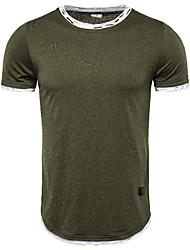 ราคาถูก -สำหรับผู้ชาย เสื้อเชิร์ต Street Chic สีพื้น สีดำ US40