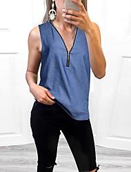 baratos -Mulheres Camiseta Sólido Azul US6