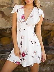 Недорогие -Жен. А-силуэт Платье Цветочный V-образный вырез Выше колена