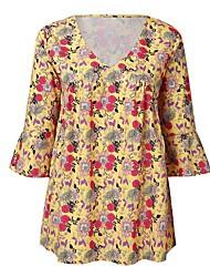 Χαμηλού Κόστους -Γυναικεία T-shirt Μπόχο Φλοράλ Patchwork / Στάμπα Ρουμπίνι US10
