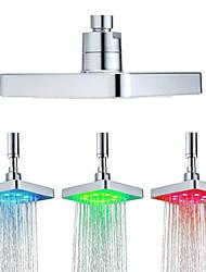 Недорогие -6 дюймов квадрат 3 цвета меняется датчик температуры воды светодиодные насадки для душа верхний распылитель душевые насадки для ванной