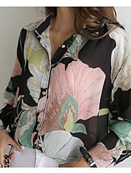 abordables -Mujer Elegante Estampado Camisa Floral Arco Iris US2