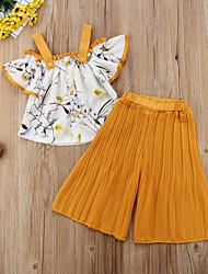 Недорогие -малыш Девочки Активный / Классический Цветочный принт С принтом С короткими рукавами Обычный Набор одежды Желтый