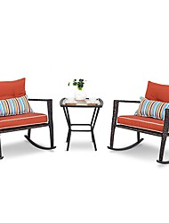 Недорогие -красные 3 части патио набор ротанга плетеные кресла-качалки с журнальным столиком