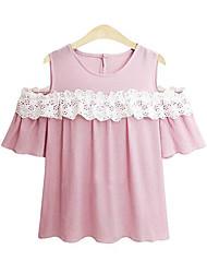 billige -Dame - Ensfarvet Blonder Skjorte Lyserød US10