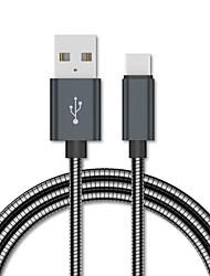 Недорогие -Type-C USB-кабель 1,0 м (3 фута) плоский / быстрый заряд USB-кабель из нержавеющей стали для Samsung Huawei Xiaomi Sony LOVE HTC Nokia Motorola LG и т. д.