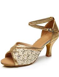 olcso -Női Szintetikus Latin cipők Fénylő Magassarkúk Kúpsarok Személyre szabható Arany / Fekete / Forgásc