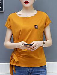 billige -Dame - Ensfarvet T-shirt Hvid US8