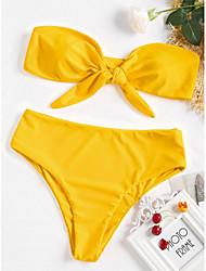 baratos -Mulheres Vermelho Amarelo Verde Tropa Biquíni Roupa de Banho - Sólido S M L Vermelho