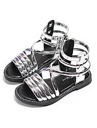 お買い得  -女の子 PUレザー サンダル リトルキッズ(4〜7歳) / ビッグキッズ(7年以上) ローマの靴 ブラック / シルバー 夏