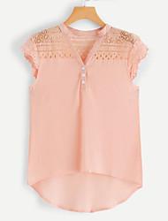 billige -Dame - Ensfarvet Blonder Bluse Hvid US8