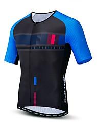 hesapli -JPOJPO Erkek Kısa Kollu Bisiklet Forması Mavi ve Siyah Bisiklet Tracksuit Forma Üstler Nefes Alabilir Spor Dalları Polyester Elastane Terylene Dağ Bisikletçiliği Yol Bisikletçiliği Giyim