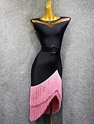 Недорогие -Латино Платья Жен. Выступление Тюль С кисточками Без рукавов Платье